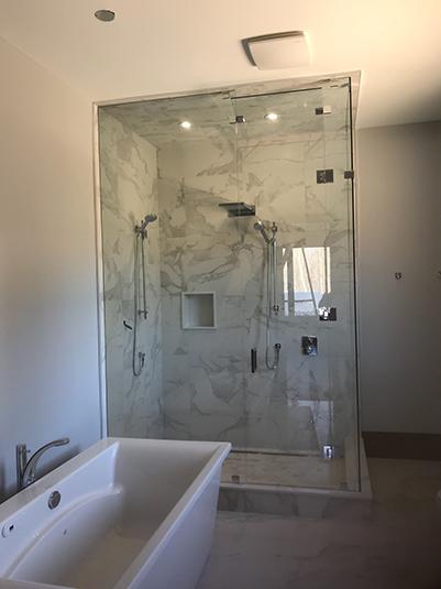 Corner panels and door shower glass enclosure