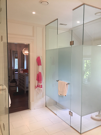 Partial frosted shower glass