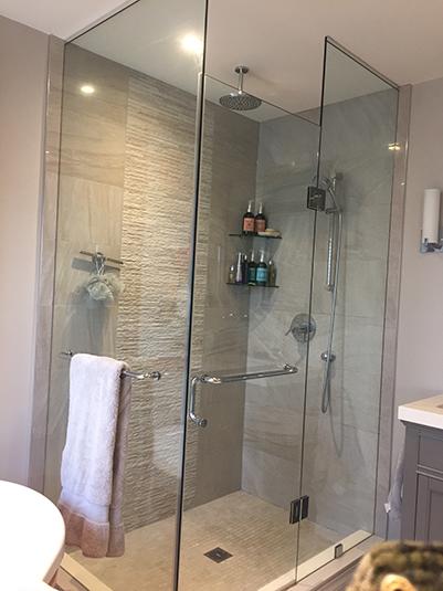 Shower glass enclosurepanels and door