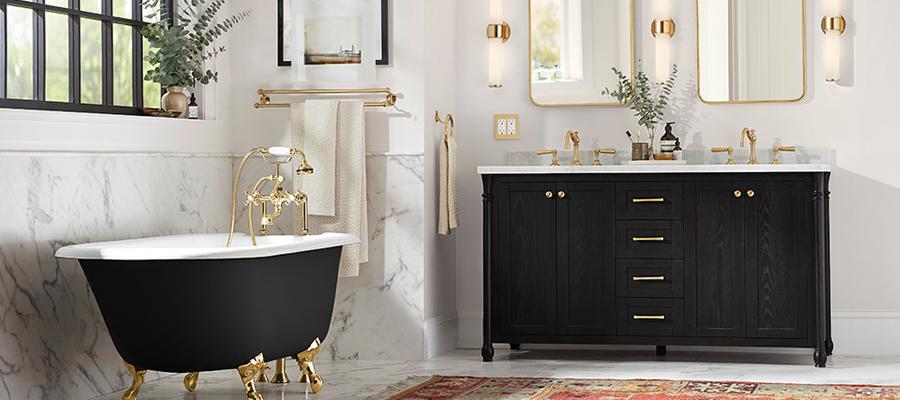 chrome bathtub with brass knobs