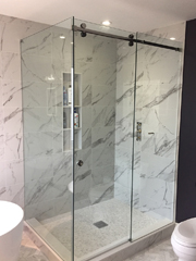 Frameless sliding shower glass 1