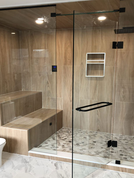 In-line Steam shower glass enclosure with Black hardware